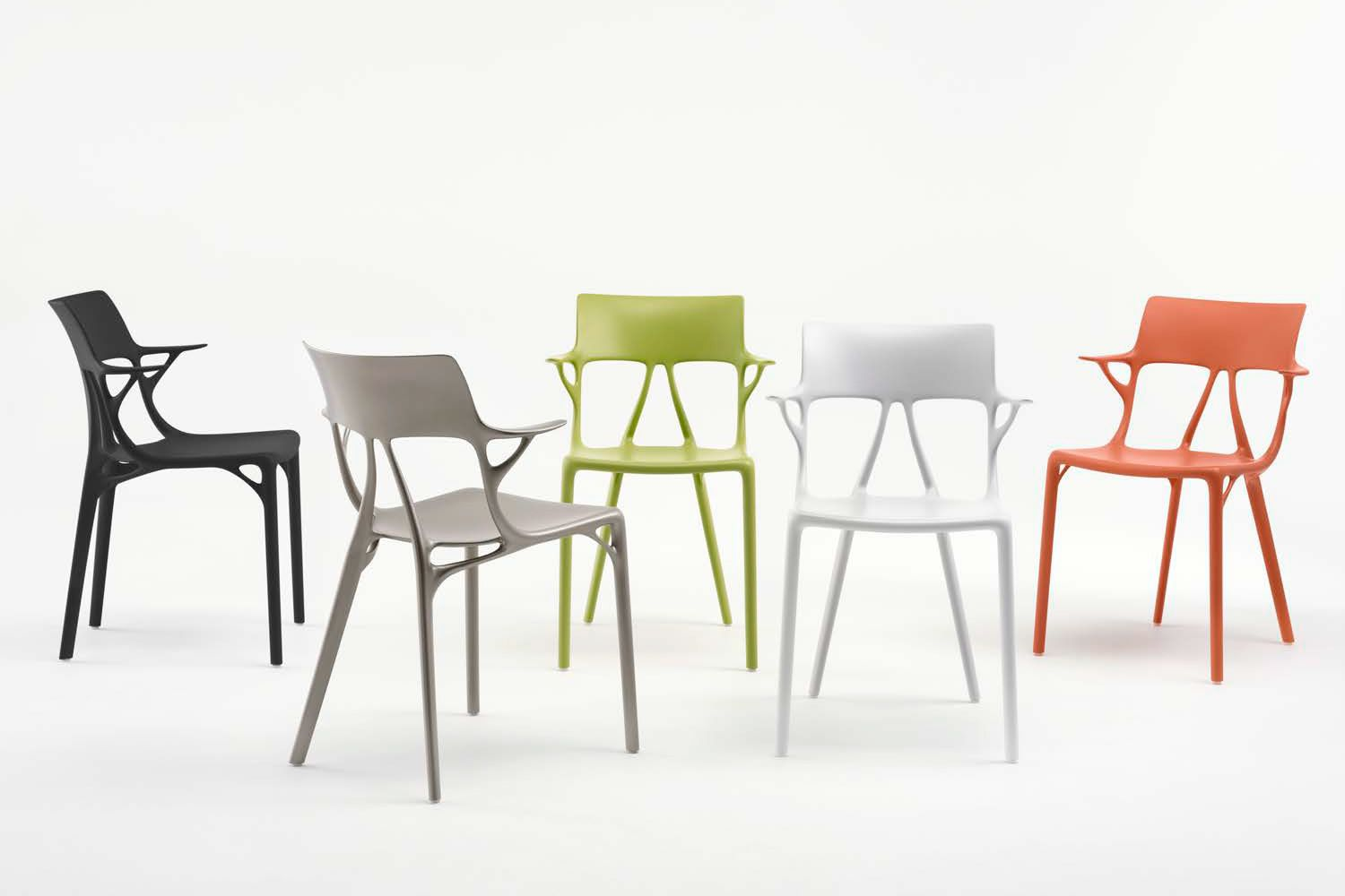 Kartell design chairs, polypropylene in different colours