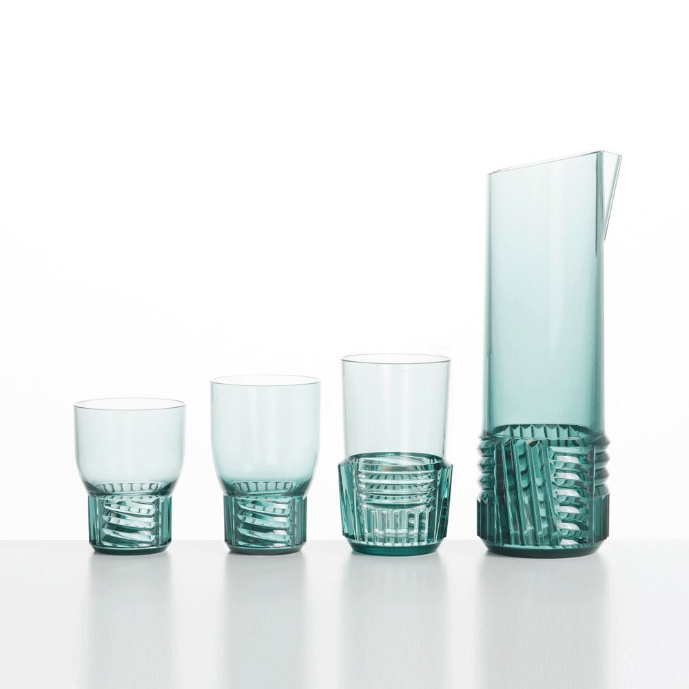 Kartell pitcher matching with Trama Drink glasses set, light blue colour