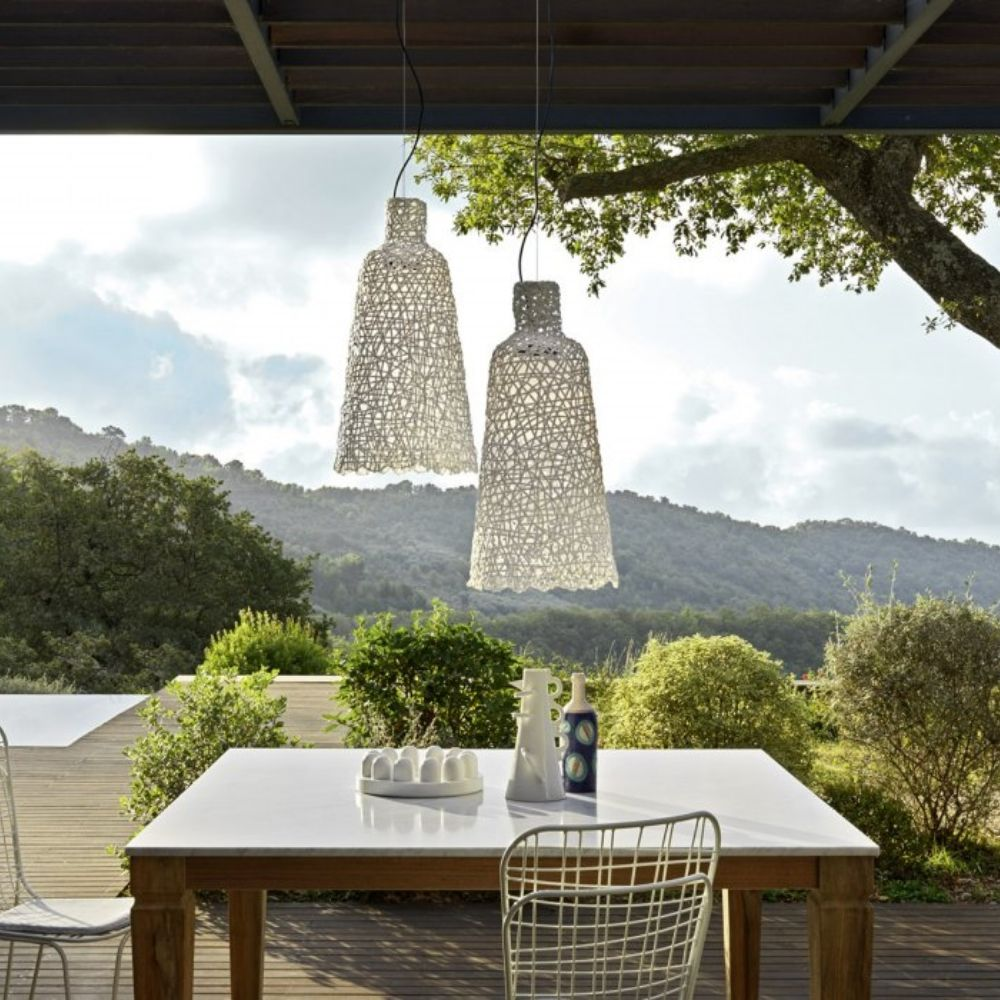 Outdoor pendant lamp with weave, colour white