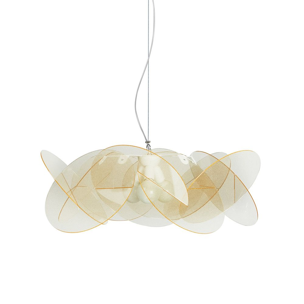 Suspension modern lamp with metacrylate lampshade, texturgold colour