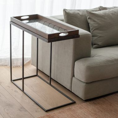 Rectangular tray side table