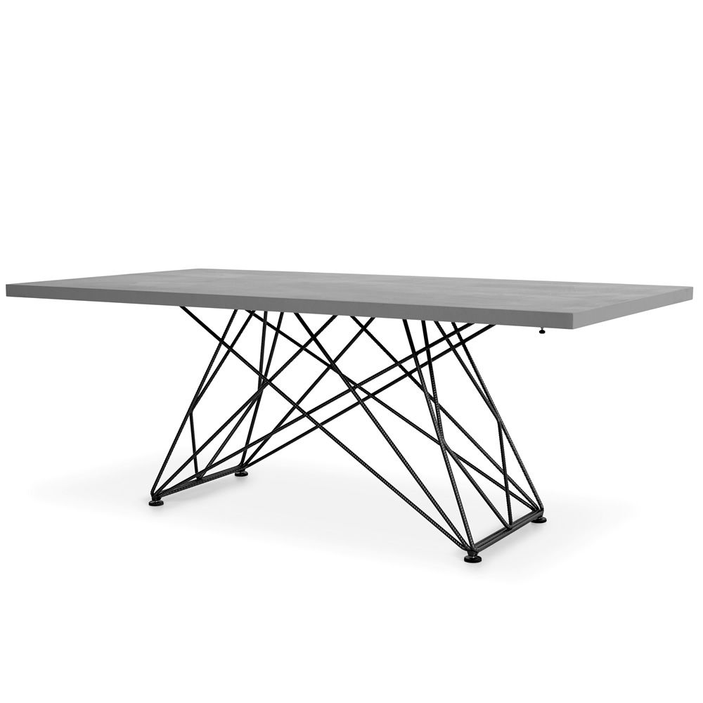 Table in smoke black painted metal, with Ecomalter top in ash grey