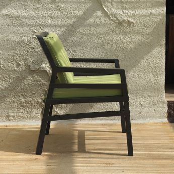 Aria - Anthracite polypropylene armchair with lime green colour cushion