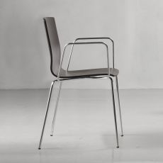 Alice Wood 2845 - Modern chair in chromed metal, wooden seat, with or without armrest, stackable, available in different colours