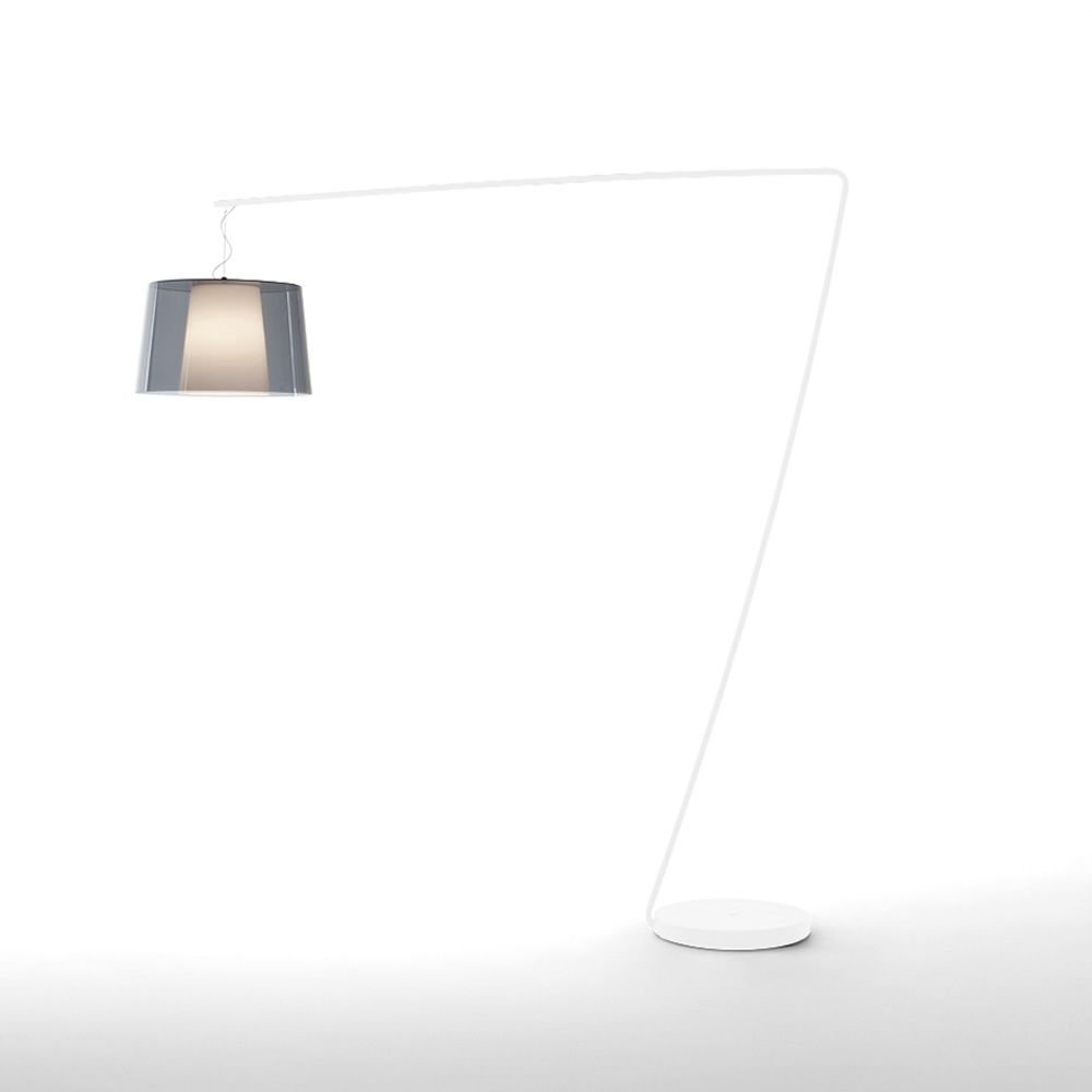 Floor lamp in white varnished metal, with smoked grey transparent methacrylate diffuser