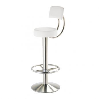Papusso 4158 - PA - Swivel bar metal stool, with seat and backrest upholstered in white leather