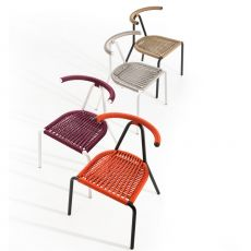 Toro Outdoor - B-Line chair in metal, cord interwoven seat, stackable, also for the garden