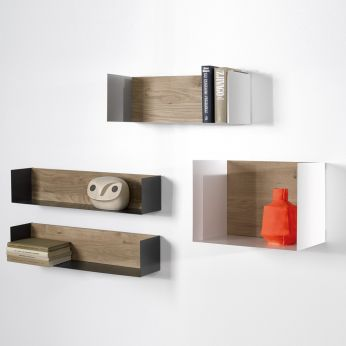 U - Wall shelf made of metal and oak, different colours and sizes available