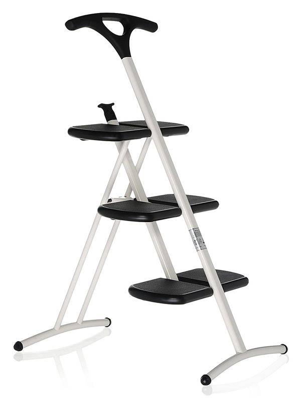 Kartell 3-foot folding stepladder with slip-resistant finish, in white colour