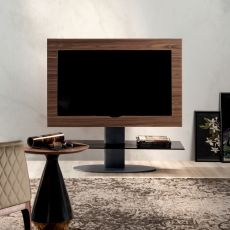 Cortes 7095 - Tonin Casa TV stand made of wood and metal with glass shelf