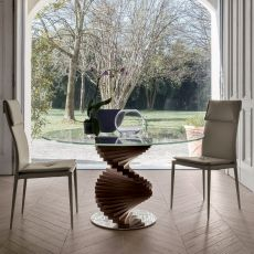 Firenze 8067 - Tonin Casa wooden table, glass top, different sizes and finishes available