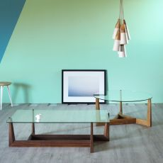 Gaudo - Miniforms coffee table in wood, with glass top, available in different dimensions