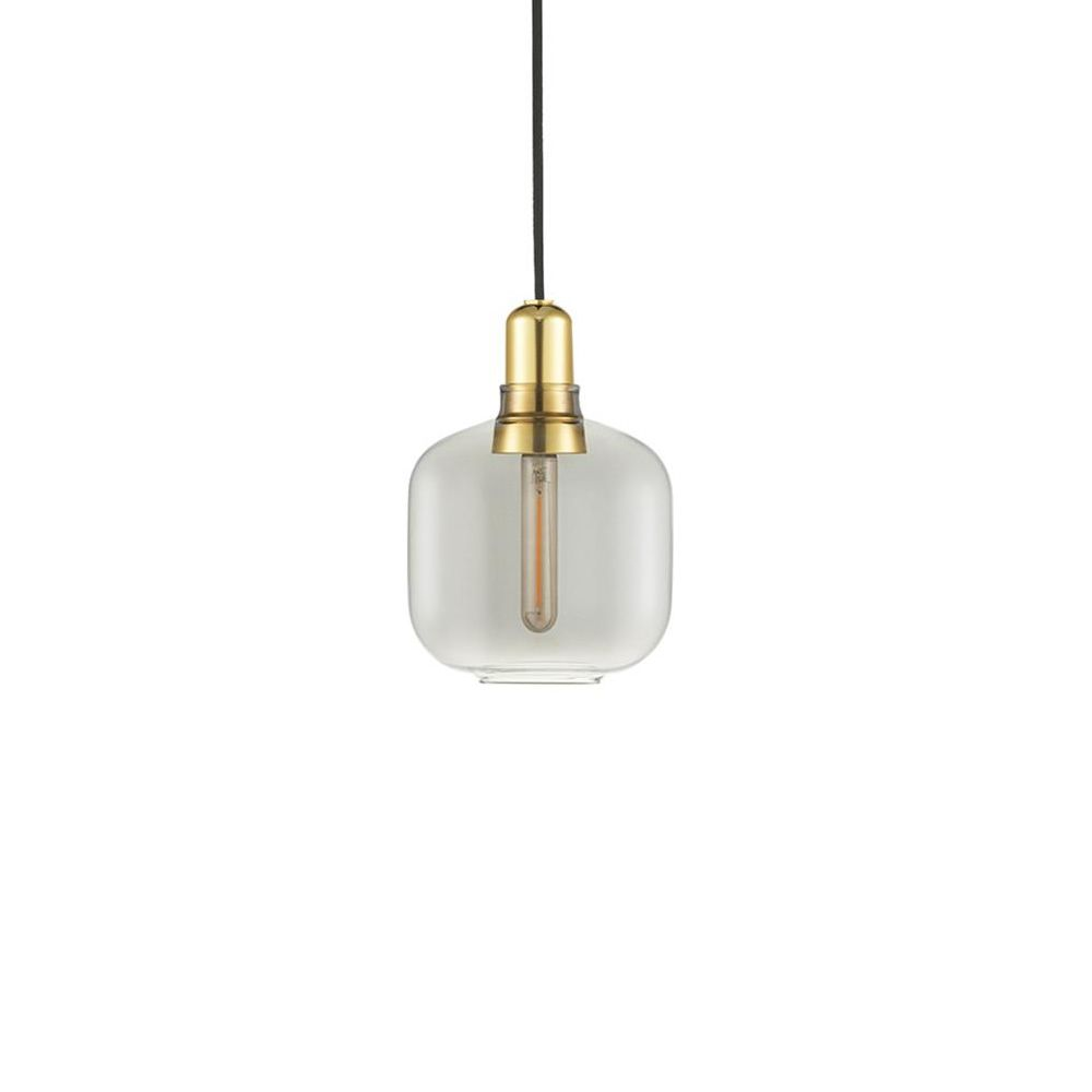 Pendant lamp made of smoke-grey glass with brass base (size: S)