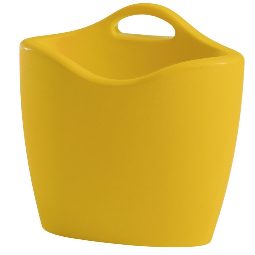 Magazine rack made of polyethylene in saffron yellow colour