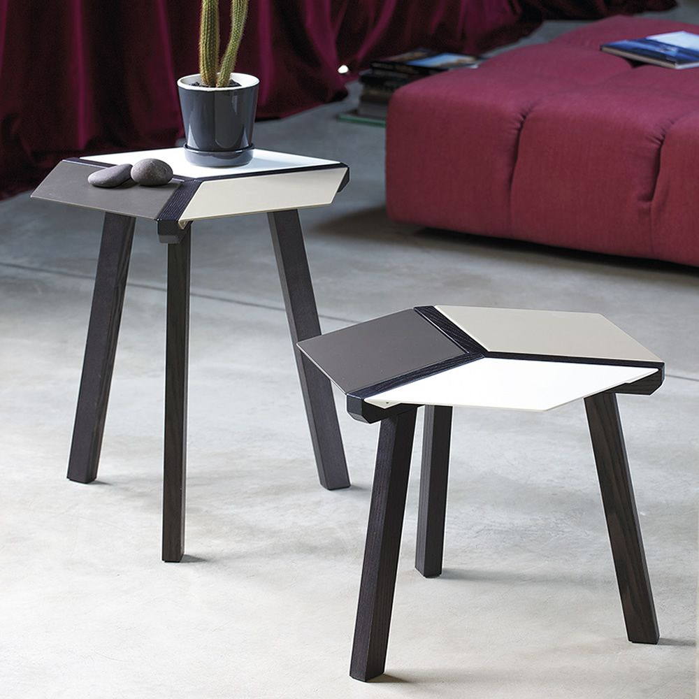 Coffee table with top in steel, multi-color (white, sand, anthracite) lacquered, 