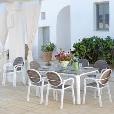 Alloro & Palma set - Garden set of 6 chairs and table 140x100cm, extendable, in metal and resin