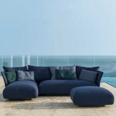 Cliff Set - Outdoor design set: sofa with chaise longue and pouf, in aluminum and fabric