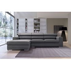 Gala P - Sofa with reversible chaise longue, reclining headrest, totally removable covering, available in several colours and sizes