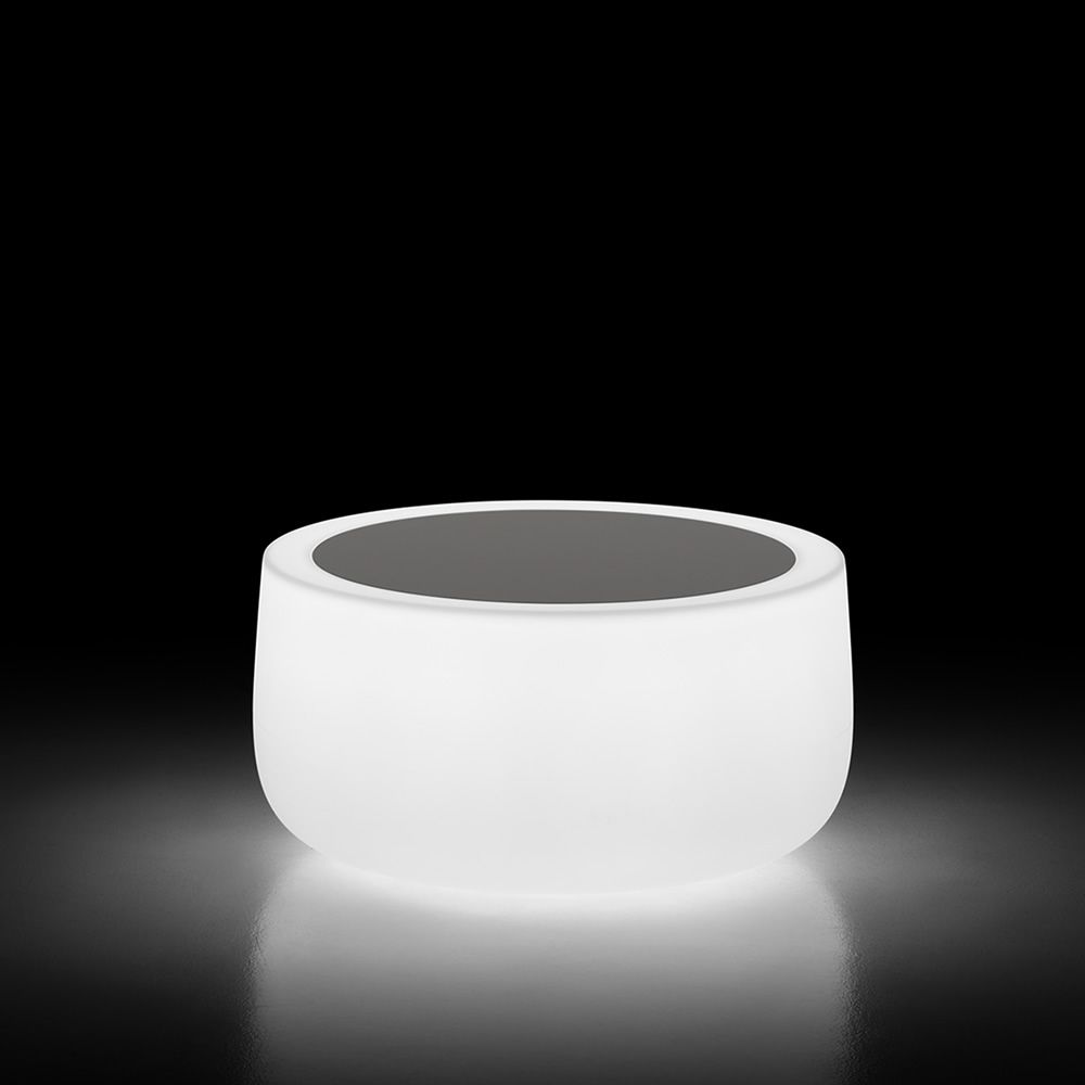 Plust coffee table in polyethylene with lighting system, white structure and black tabletop