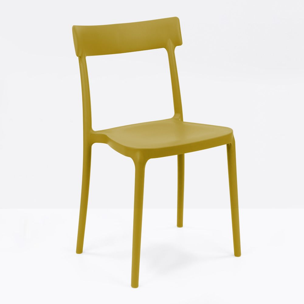 Stackable chair in mustard yellow polypropylene, also for garden