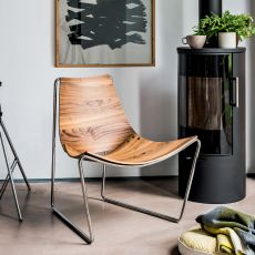 Apelle AT - Midj metal chair, seat in hide or wood