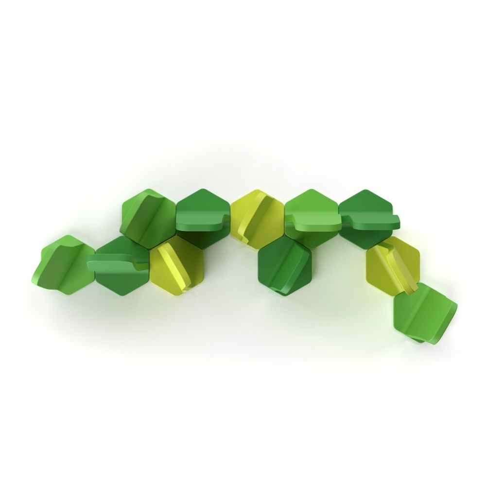 Dividing wall in polyethylene by Plust, green colour, for outdoors also (detail)
