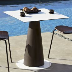 Hoplà S - Slide table in polyethylene, laminated wooded top, different sizes, also with light system and for garden