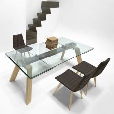 Toronto A - Midj table with frame in metal or wood, glass top, 160x100 cm extendable
