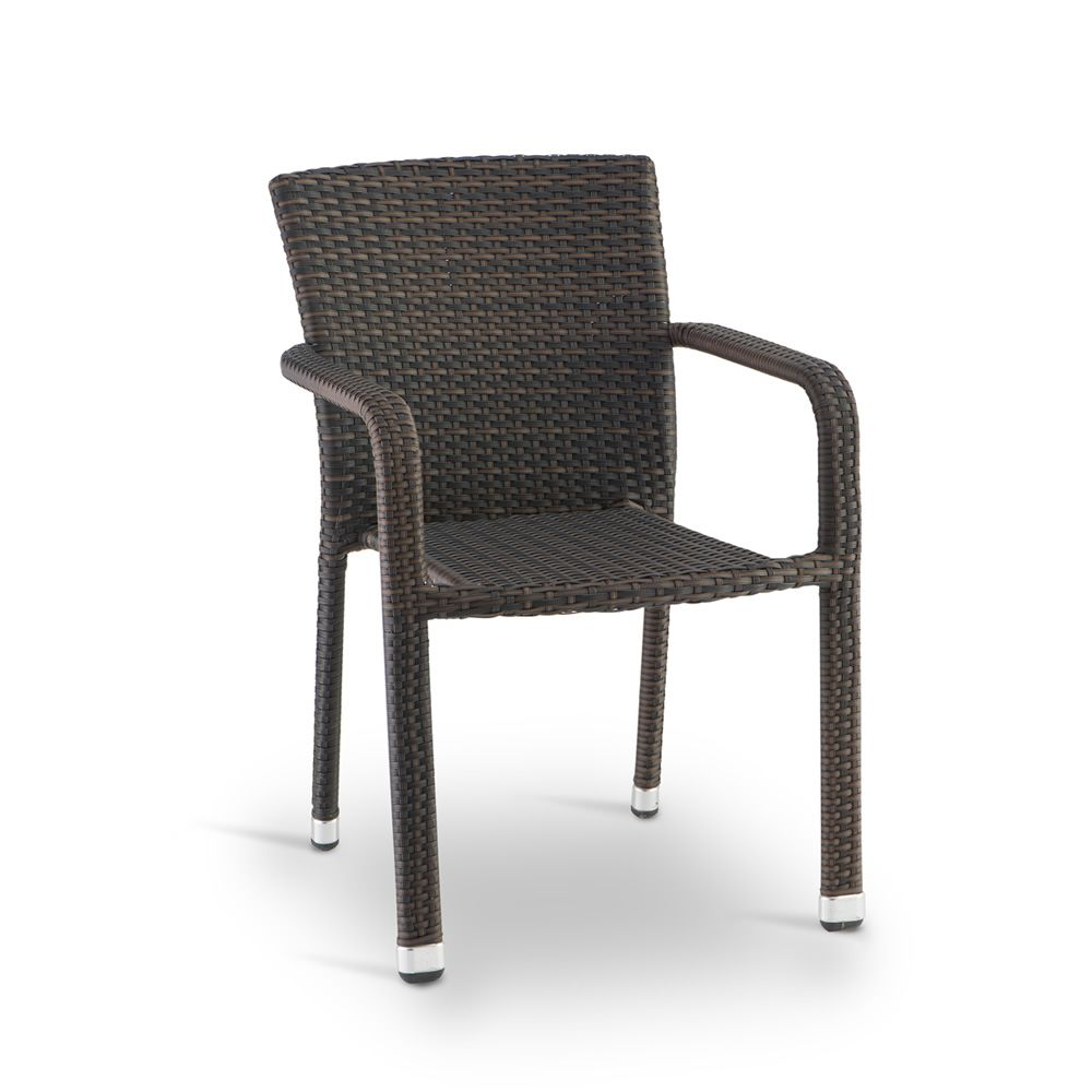 Stackable chair with armrest in aluminium, covered with brown imitation rattan, for outdoor