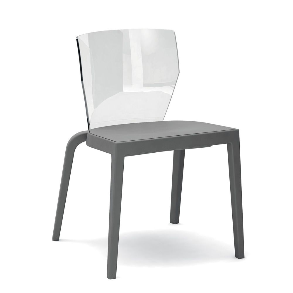 Chair made of polypropylene in anthracite grey colour with transparent polycarbonate backrest
