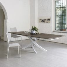 Artistico Wood Ext - Design table Bontempi Casa, extendible 160(240)x90 cm, with metal central base and wooden top, available in different colours