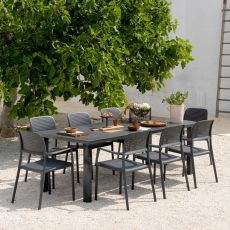 Levante & Bora set - Garden set of 6 chairs and table 160x100cm, extendable, in metal and resin