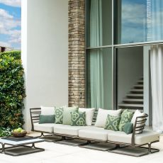 Marcel L - Emu modular sofa with 4 seaters, in metal, with cushions, for garden