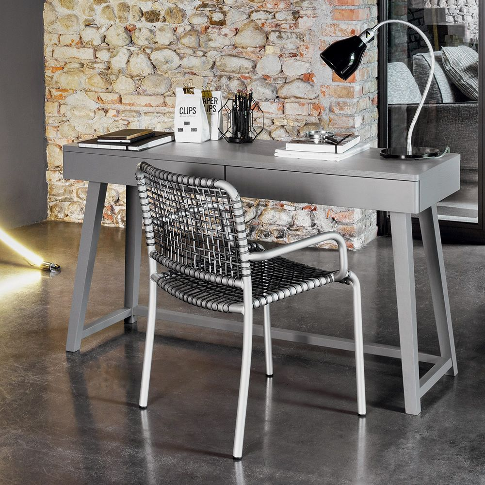 Writing desk in grey lacquered wood
