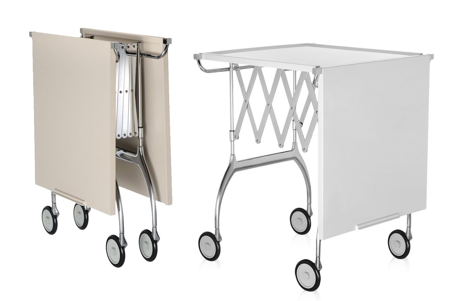 Kartell folding trolley, color cream and white