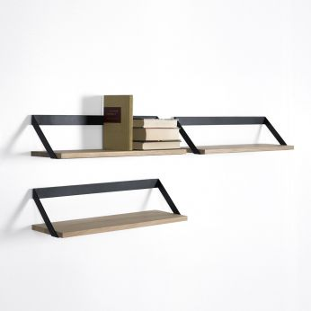 Ribbon - Wall shelf made of oak and black lacquered metal