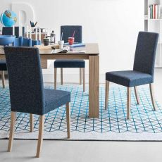 CS1454 Dolcevita - Calligaris wooden chair, seat covered with fabric, removable covering
