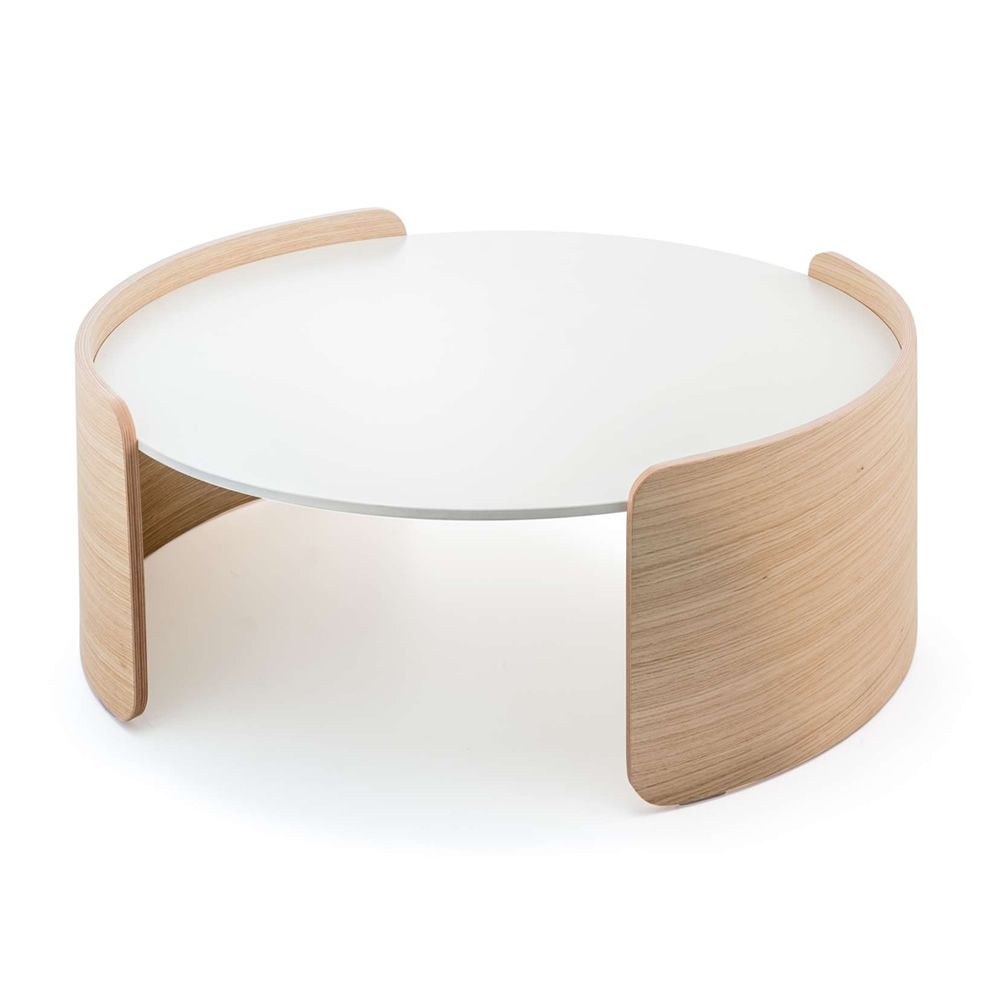 Low table in whitened oak with white solid laminate top