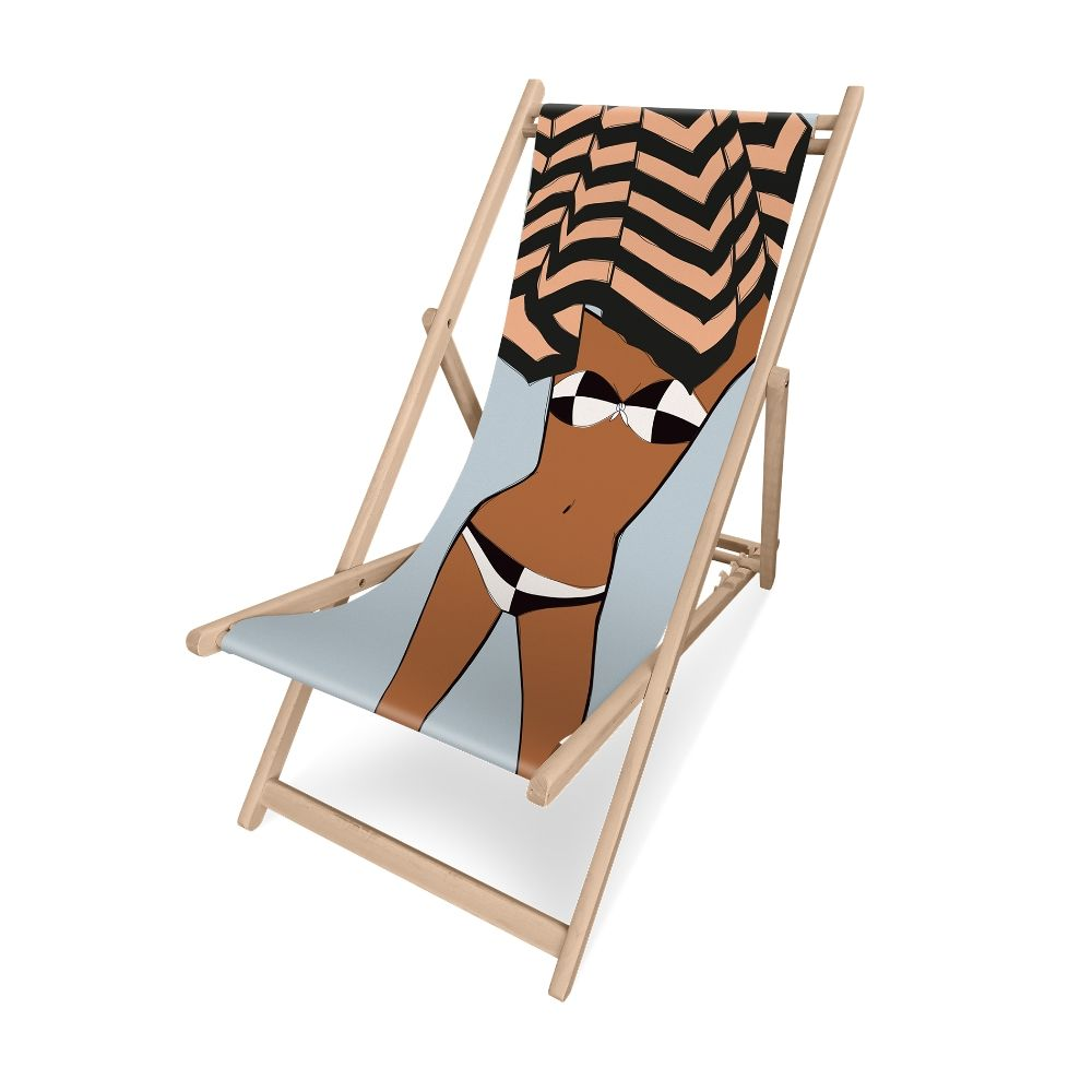 Pôdevache folding deckchair in pronted polyesther fabric, Bikini model