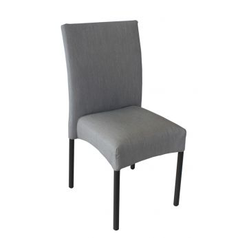 E22 - Stackable chair made of black varnished aluminium, padded seat and covered with water repellent fabric in grey colour, for outdoor