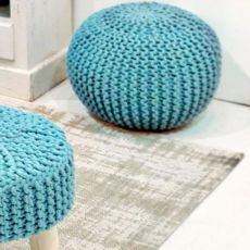 Breccia - Shabby chic pouf in several colours, diameter 50 cm