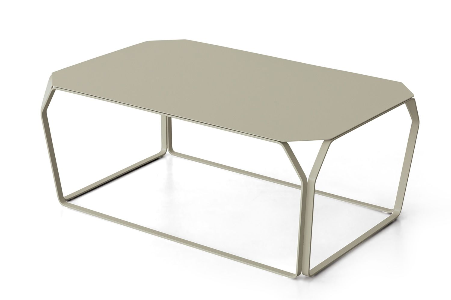 Small rectangular table in lacquered metal, color light gray