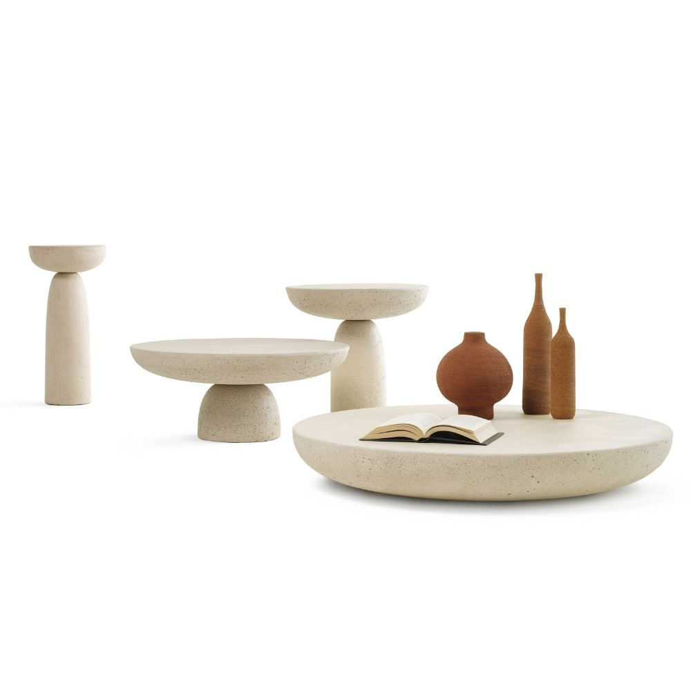 Oo coffee tables by Mogg, ivory colour