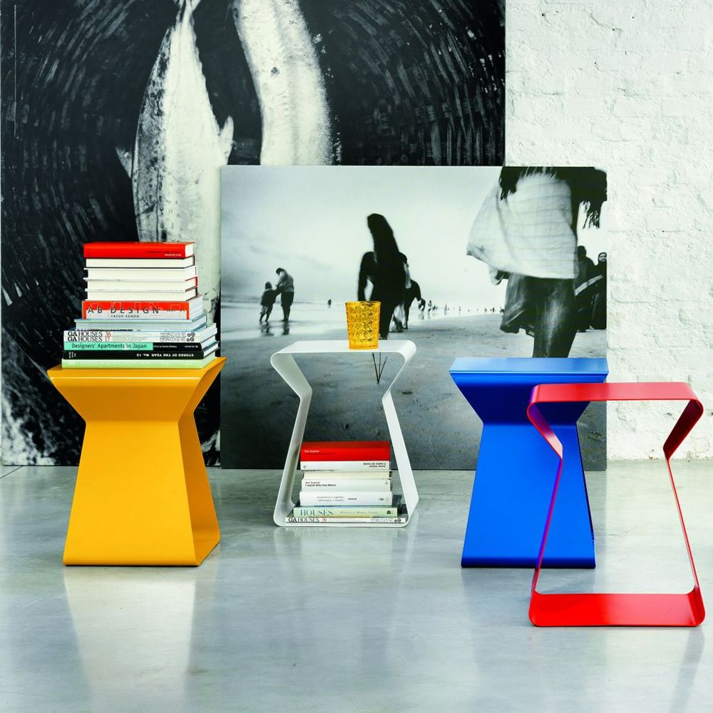 Coffee tables in the following colours: yellow, white, blue and red