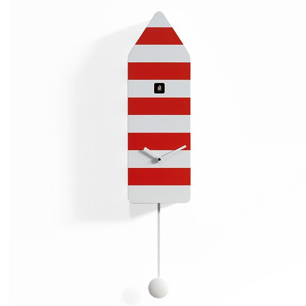 Cuckoo clock in wood, red and white colour