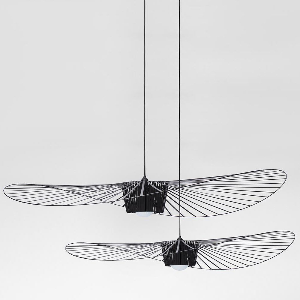 Suspension lamp made of black polyurethane and glass fiber (Size: Small, Big)