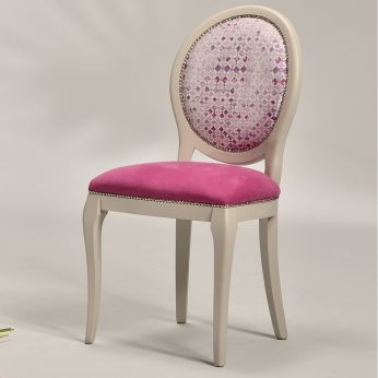 Adelaide - Classic wooden chair, light dove grey lacquered, seat in Cotton-Linen 3614155, backrest in Profondeur 3285 - 131