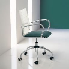 Sinuè - Midj swivel and adjustable metal chair, padded seat and methacrylate backrest