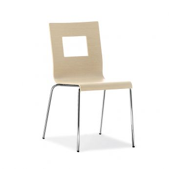 Kuadra 1311 - Modern chair for restaurant, in metal and whitened oak wood