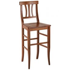 MU81H - Country style high stool in wood, height 73 cm, different dyes available, with seat in wood, straw or different types of fabric